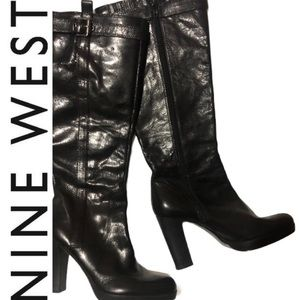 Leather boots below the knee